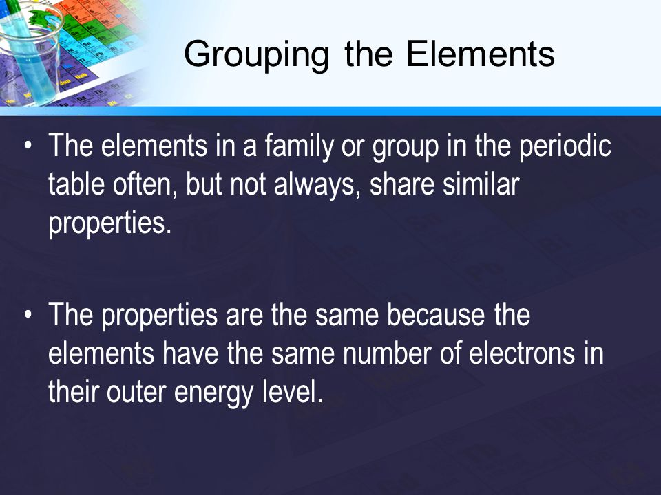 Reactive elements Atoms in these elements take, give, or share electrons with other atoms in order to fill the outer valence shell.