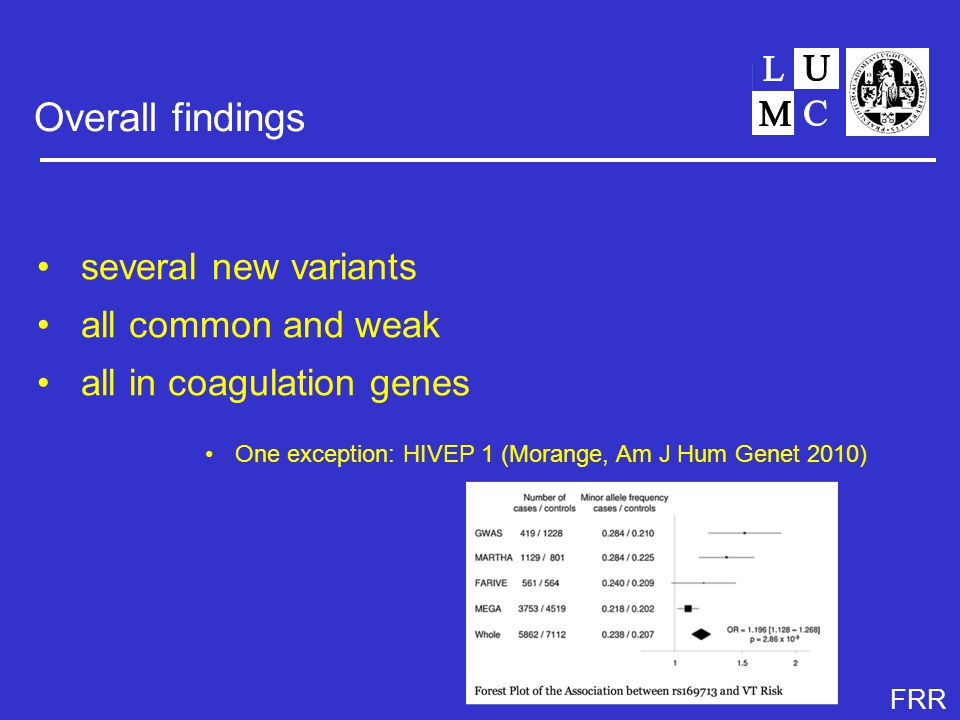 FRR Overall findings several new variants all common and weak all in coagulation genes One exception: HIVEP 1 (Morange, Am J Hum Genet 2010)