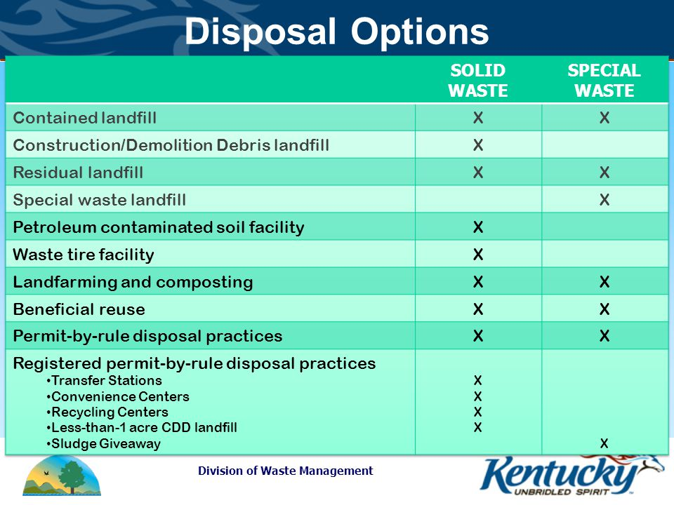 Division of Waste Management Disposal Options