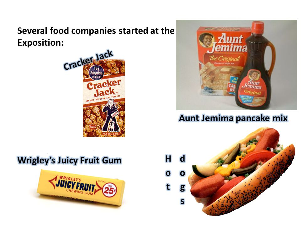Several food companies started at the Exposition: