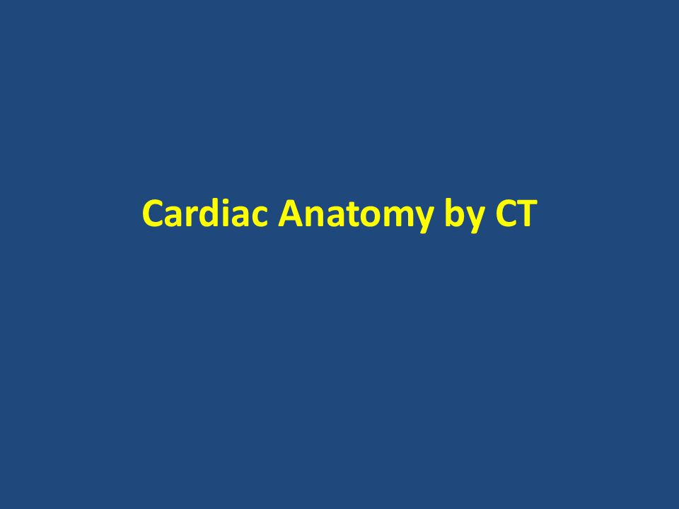 Cardiac Anatomy by CT