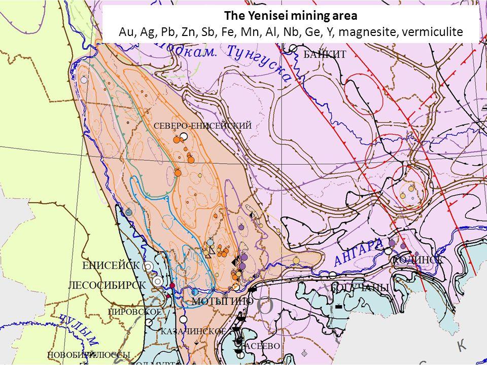 5 The Yenisei mining area Au, Ag, Pb, Zn, Sb, Fe, Mn, Al, Nb, Ge, Y, magnesite, vermiculite