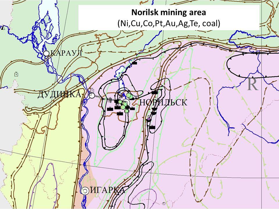 Минерагеническое районирование и размещение ведущих месторождений в Красноярском крае 6 Norilsk mining area (Ni,Cu,Co,Pt,Au,Ag,Te, coal)