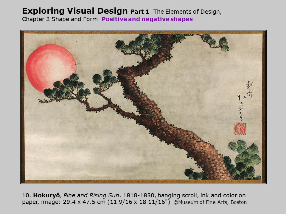 Exploring Visual Design Part 1 The Elements of Design, Chapter 2 Shape and Form Positive and negative shapes 10. Hokuryô, Pine and Rising Sun, 1818-18