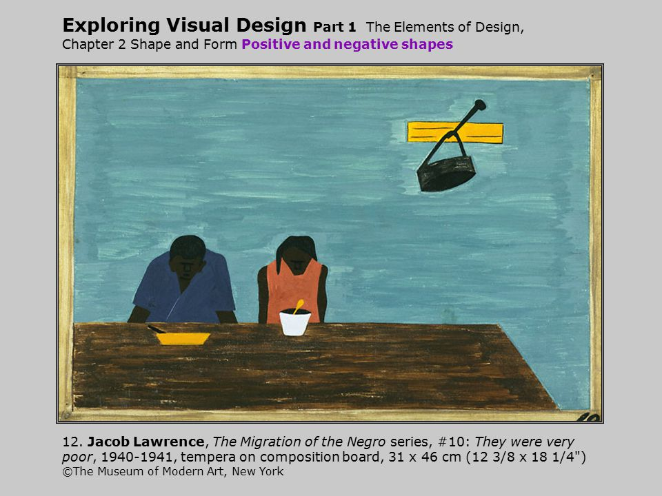 Exploring Visual Design Part 1 The Elements of Design, Chapter 2 Shape and Form Positive and negative shapes 12. Jacob Lawrence, The Migration of the