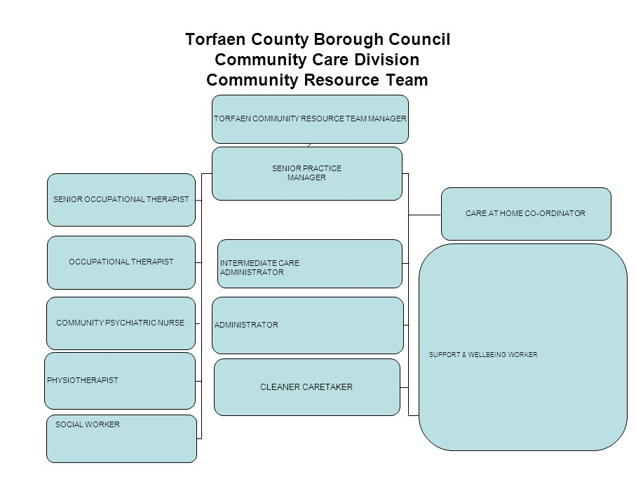 17 Torfaen County Borough Council Community Care Division Community Resource Team SENIOR PRACTICE MANAGER SENIOR OCCUPATIONAL THERAPIST OCCUPATIONAL T