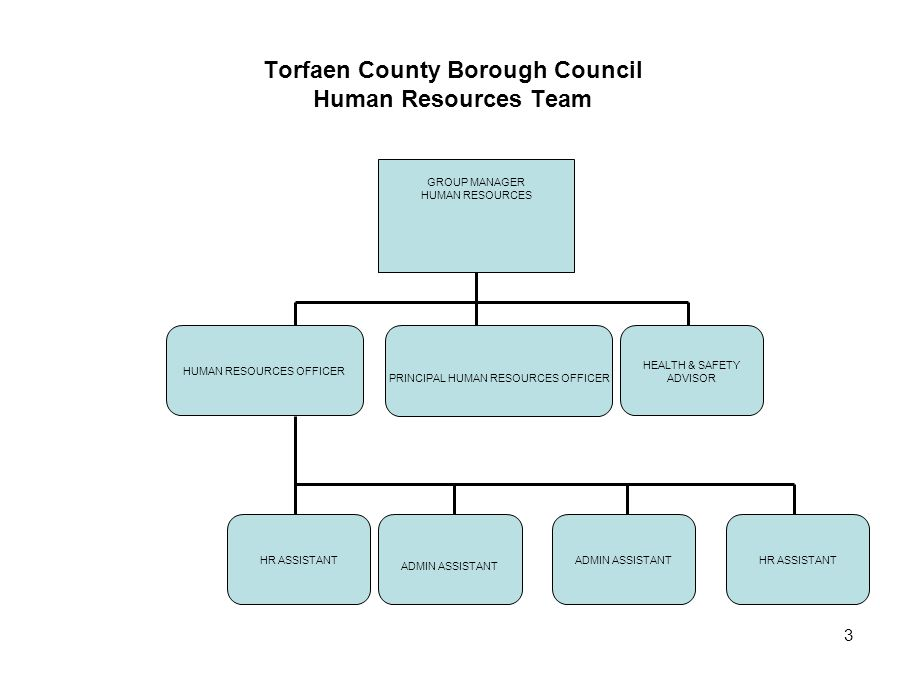 3 Torfaen County Borough Council Human Resources Team HUMAN RESOURCES OFFICER PRINCIPAL HUMAN RESOURCES OFFICER HEALTH & SAFETY ADVISOR HR ASSISTANT A