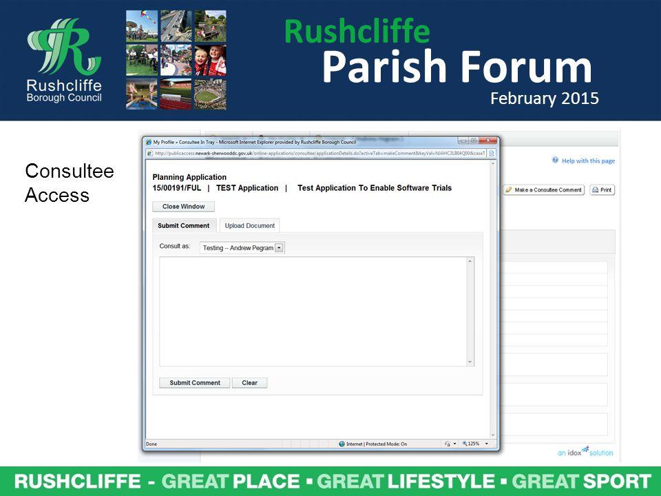 Rushcliffe Parish Forum February 2015 Consultee Access