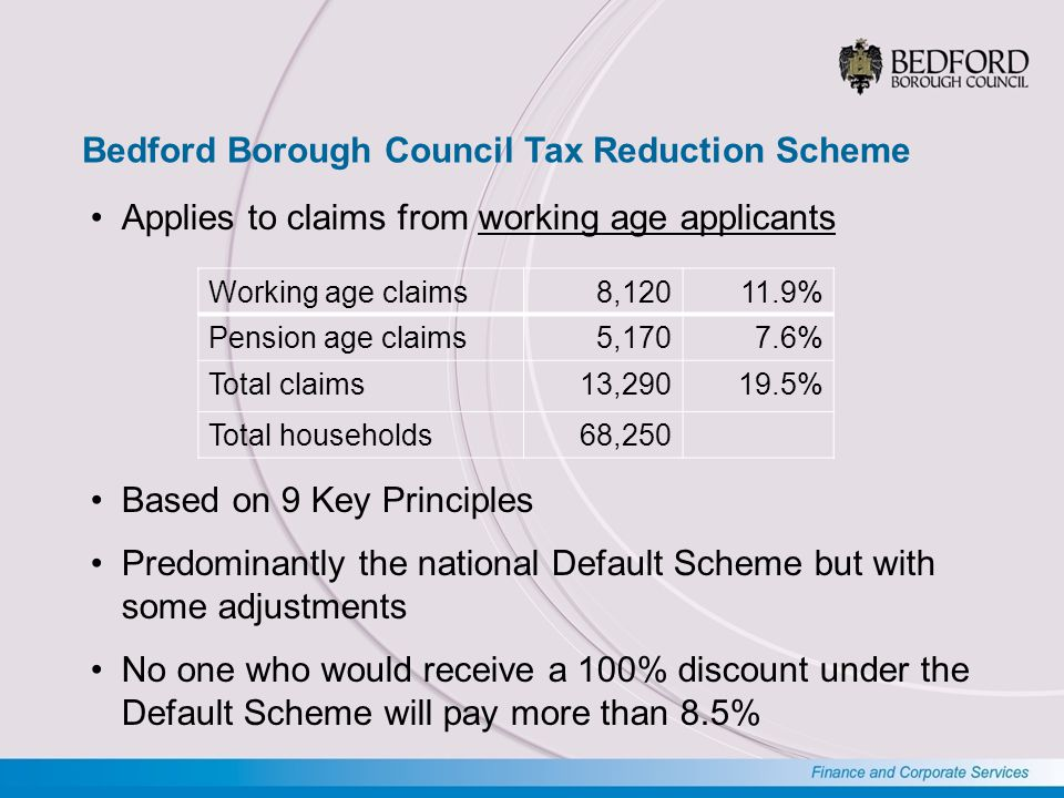 Bedford Borough Council - Key Principles Support for those households most in need Similar support for those in similar circumstances Support must be affordable for the Council All members of households with means should contribute Households with the means to pay should do so Those in larger properties should meet part of the cost Additional support for the transition to paid employment Evidence required to support all applications Fraudsters should not get full support for six months