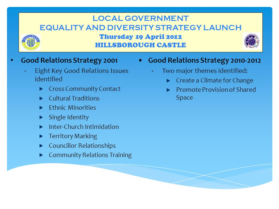 LOCAL GOVERNMENT EQUALITY AND DIVERSITY STRATEGY LAUNCH Thursday 19 April 2012 HILLSBOROUGH CASTLE RECOGNITION OF WORK  BIEF : Winners – Department of Justice Community Safety Award 2010 and Good Relations Award – Runner Up  Ballymena Borough Council : 2010 Association for Public Service Excellence : Award for Best Employee and Equality Initiative – Good Relations Unit  Northern Ireland Local Government Association : 2011 : Officer of the Year Shortlisted Finalist
