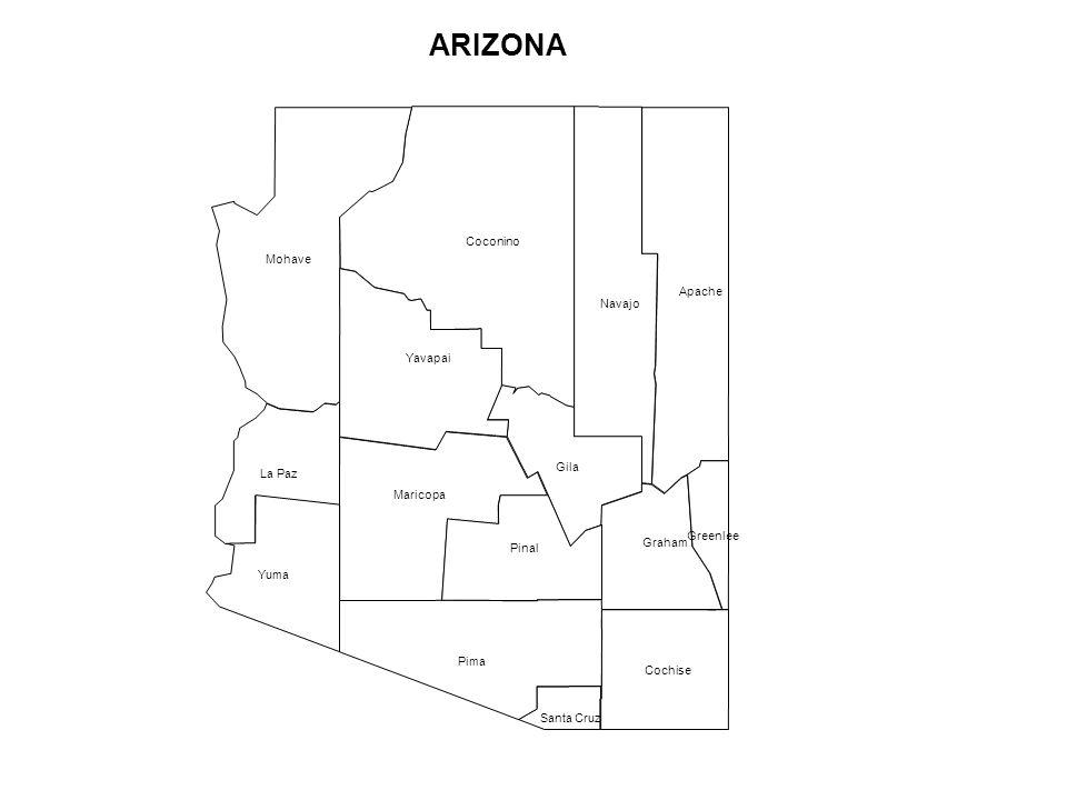 Santa Cruz Maricopa Apache Navajo Coconino Mohave Cochise Gila Graham Greenlee La Paz Pima Pinal Yavapai Yuma ARIZONA