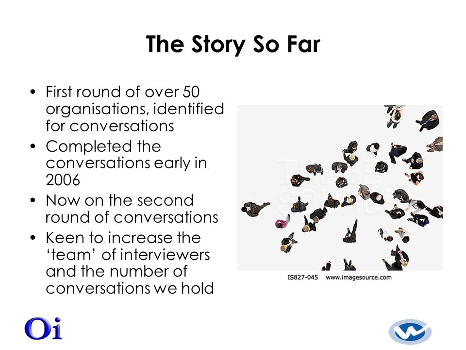 The Story So Far First round of over 50 organisations, identified for conversations Completed the conversations early in 2006 Now on the second round of conversations Keen to increase the 'team' of interviewers and the number of conversations we hold