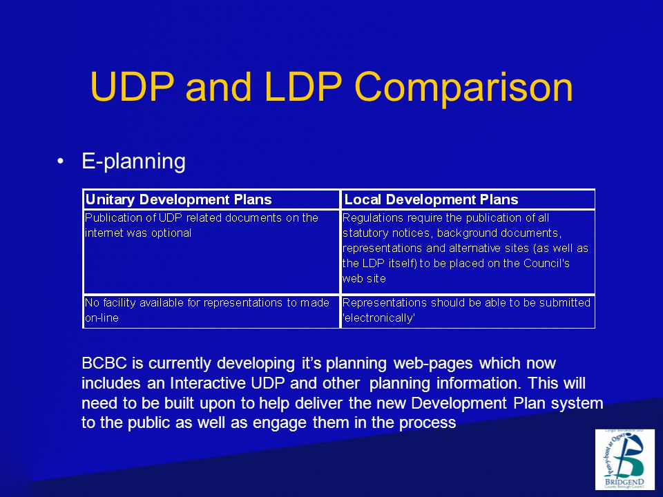 E-planning BCBC is currently developing it's planning web-pages which now includes an Interactive UDP and other planning information.
