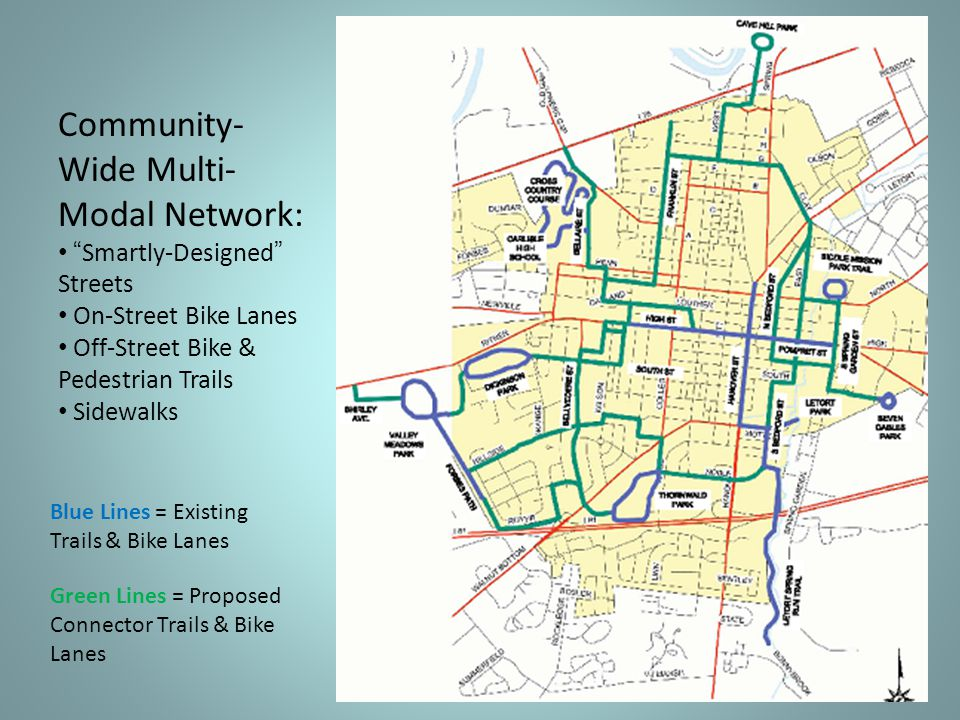 Blue Lines = Existing Trails & Bike Lanes Green Lines = Proposed Connector Trails & Bike Lanes Community- Wide Multi- Modal Network: Smartly-Designed Streets On-Street Bike Lanes Off-Street Bike & Pedestrian Trails Sidewalks