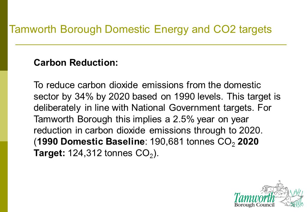 Tamworth Borough Domestic Energy and CO2 targets Carbon Reduction: To reduce carbon dioxide emissions from the domestic sector by 34% by 2020 based on 1990 levels.