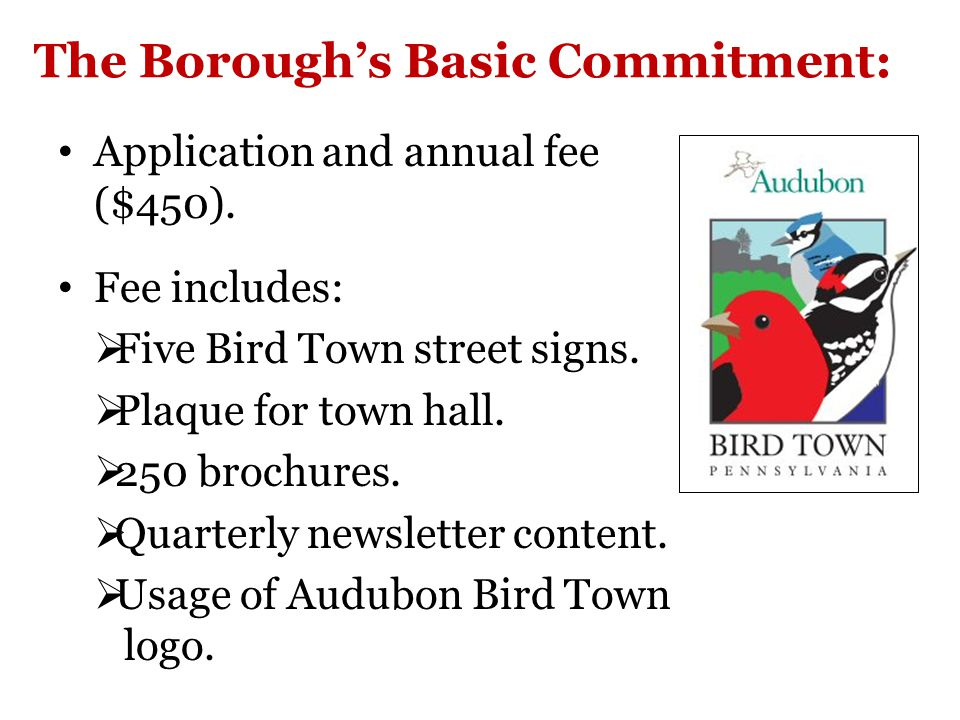 The Borough's Basic Commitment: Application and annual fee ($450).
