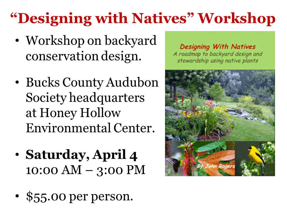 Designing with Natives Workshop Workshop on backyard conservation design.