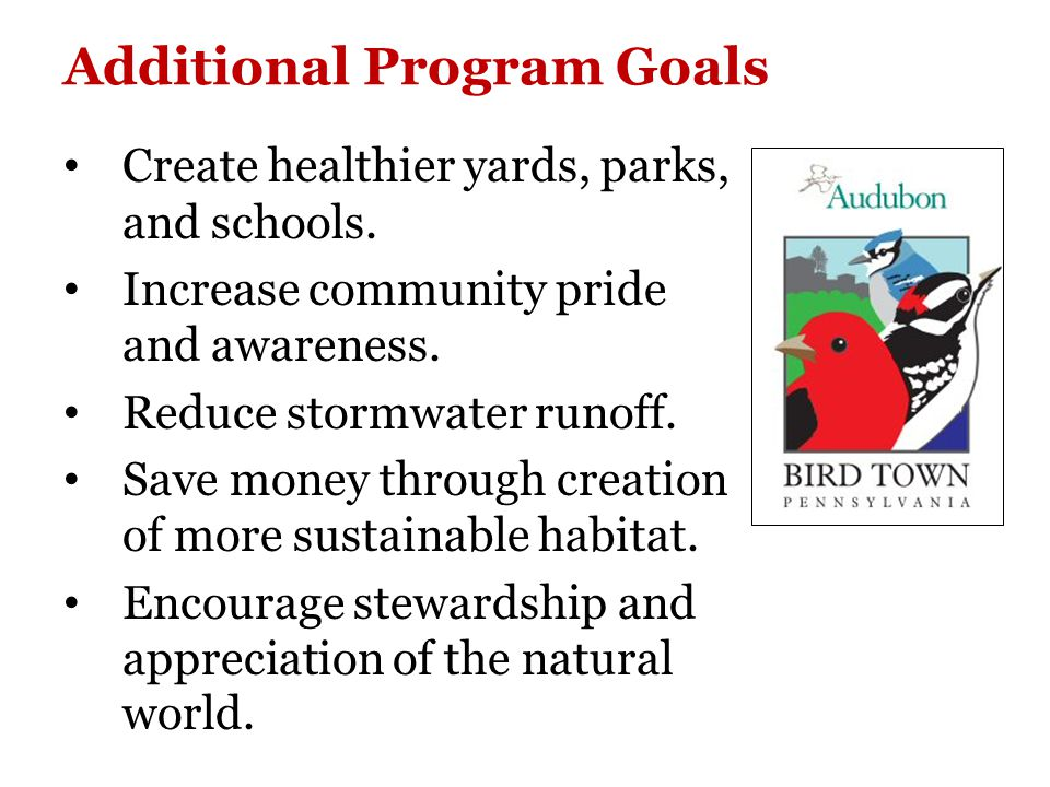 Community-wide Coordination and Effort Required: Borough Residents Borough Council Bird Town Committee Nature Preserve Parks & Recreation Civic Association Planning Commission Local businesses Schools/Youth groups