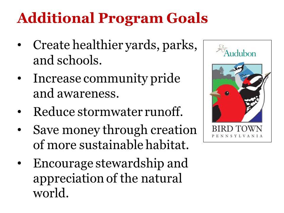 Our Initial Goals: Promote the Borough's Bird Town status.