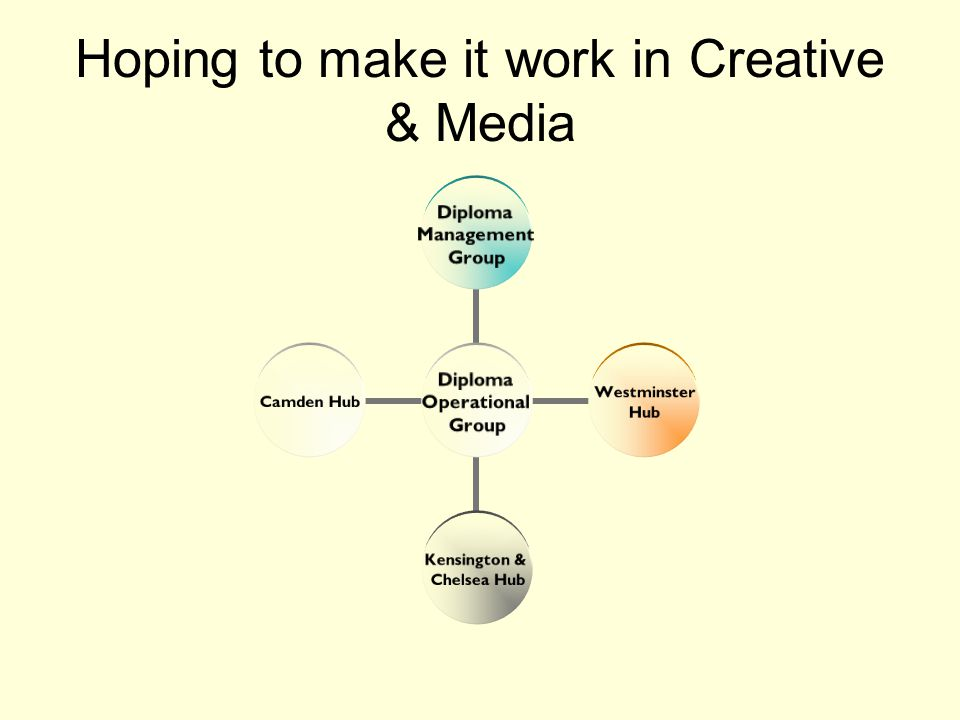 Hoping to make it work in Creative & Media Diploma Operational Group Diploma Management Group Westminster Hub Kensington & Chelsea Hub Camden Hub