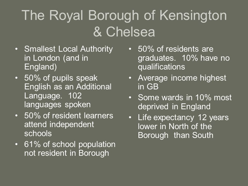 The Royal Borough of Kensington & Chelsea Smallest Local Authority in London (and in England) 50% of pupils speak English as an Additional Language.