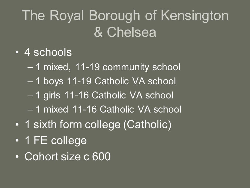 The Royal Borough of Kensington & Chelsea 4 schools –1 mixed, 11-19 community school –1 boys 11-19 Catholic VA school –1 girls 11-16 Catholic VA school –1 mixed 11-16 Catholic VA school 1 sixth form college (Catholic) 1 FE college Cohort size c 600