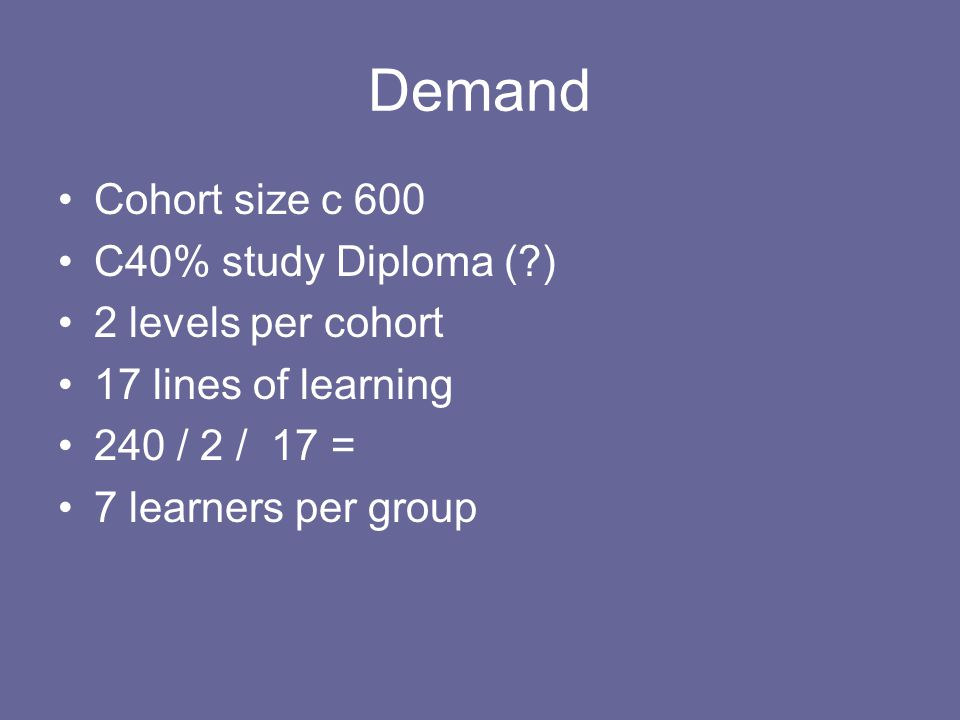 Demand Cohort size c 600 C40% study Diploma (?) 2 levels per cohort 17 lines of learning 240 / 2 / 17 = 7 learners per group