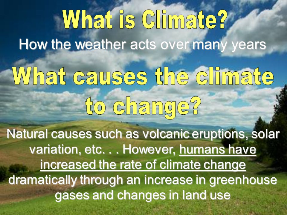 How the weather acts over many years Natural causes such as volcanic eruptions, solar variation, etc...