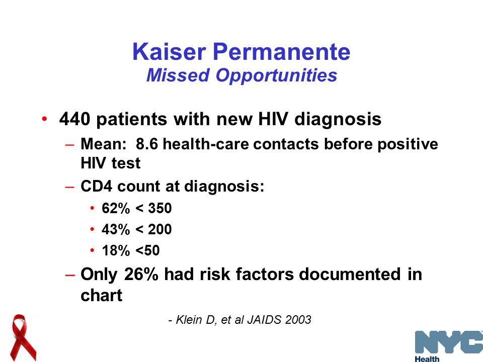 Kaiser Permanente Missed Opportunities 440 patients with new HIV diagnosis –Mean: 8.6 health-care contacts before positive HIV test –CD4 count at diagnosis: 62% < 350 43% < 200 18% <50 –Only 26% had risk factors documented in chart - Klein D, et al JAIDS 2003