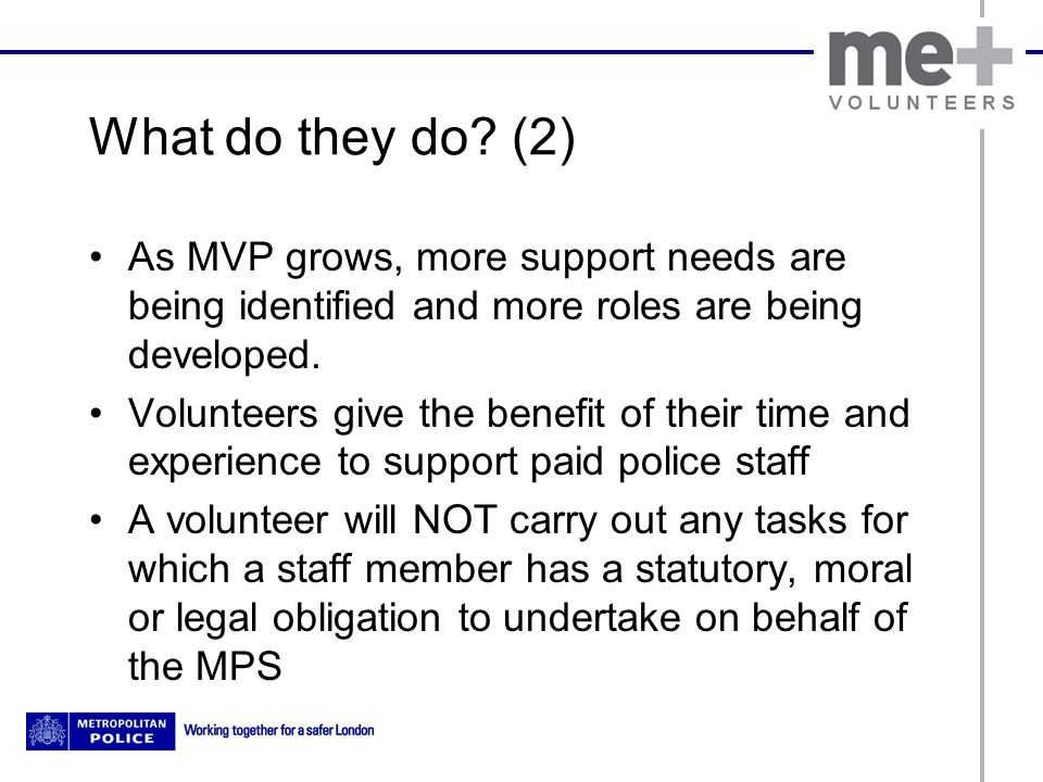 What do they do? (2) As MVP grows, more support needs are being identified and more roles are being developed. Volunteers give the benefit of their ti