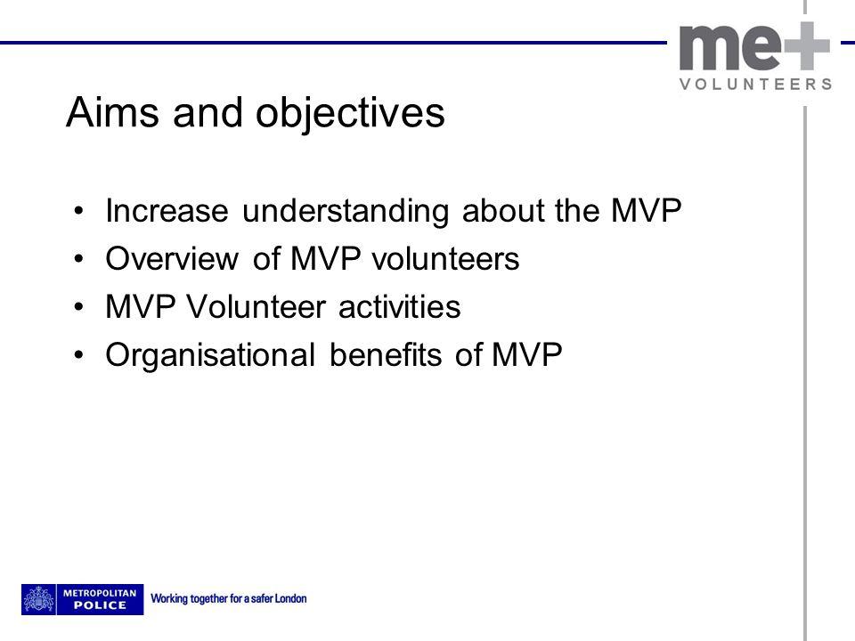 Aims and objectives Increase understanding about the MVP Overview of MVP volunteers MVP Volunteer activities Organisational benefits of MVP