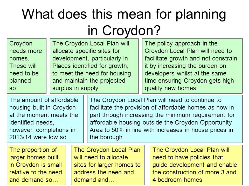 What does this mean for planning in Croydon. Croydon needs more homes.