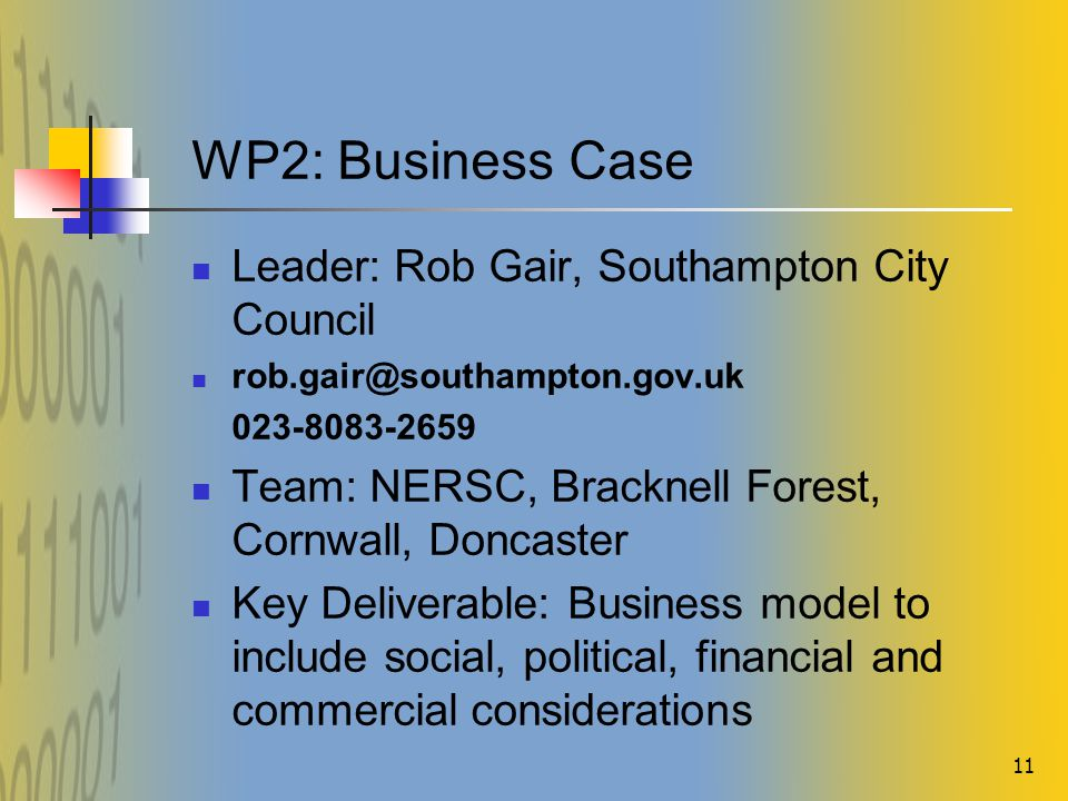 11 WP2: Business Case Leader: Rob Gair, Southampton City Council rob.gair@southampton.gov.uk 023-8083-2659 Team: NERSC, Bracknell Forest, Cornwall, Doncaster Key Deliverable: Business model to include social, political, financial and commercial considerations