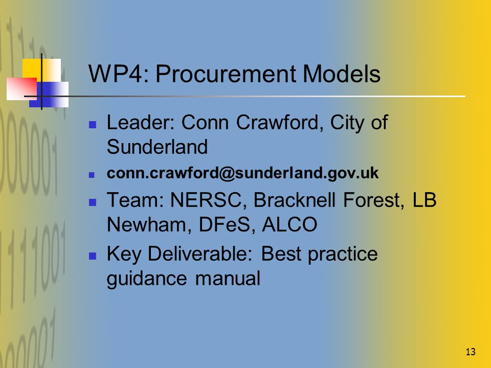 13 WP4: Procurement Models Leader: Conn Crawford, City of Sunderland conn.crawford@sunderland.gov.uk Team: NERSC, Bracknell Forest, LB Newham, DFeS, ALCO Key Deliverable: Best practice guidance manual
