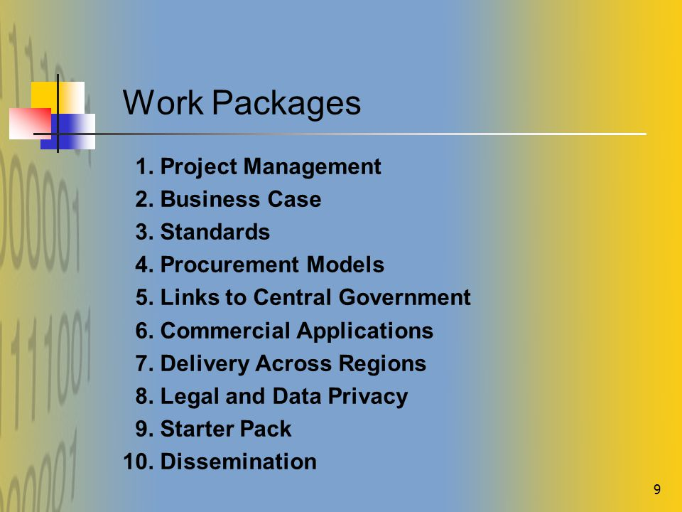 9 Work Packages 1.Project Management 2. Business Case 3.