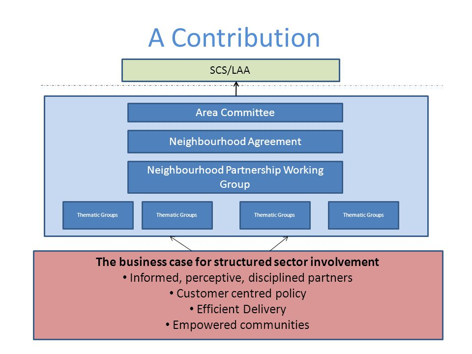 A Contribution SCS/LAA Area Committee Neighbourhood Agreement Neighbourhood Partnership Working Group Thematic Groups The business case for structured sector involvement Informed, perceptive, disciplined partners Customer centred policy Efficient Delivery Empowered communities