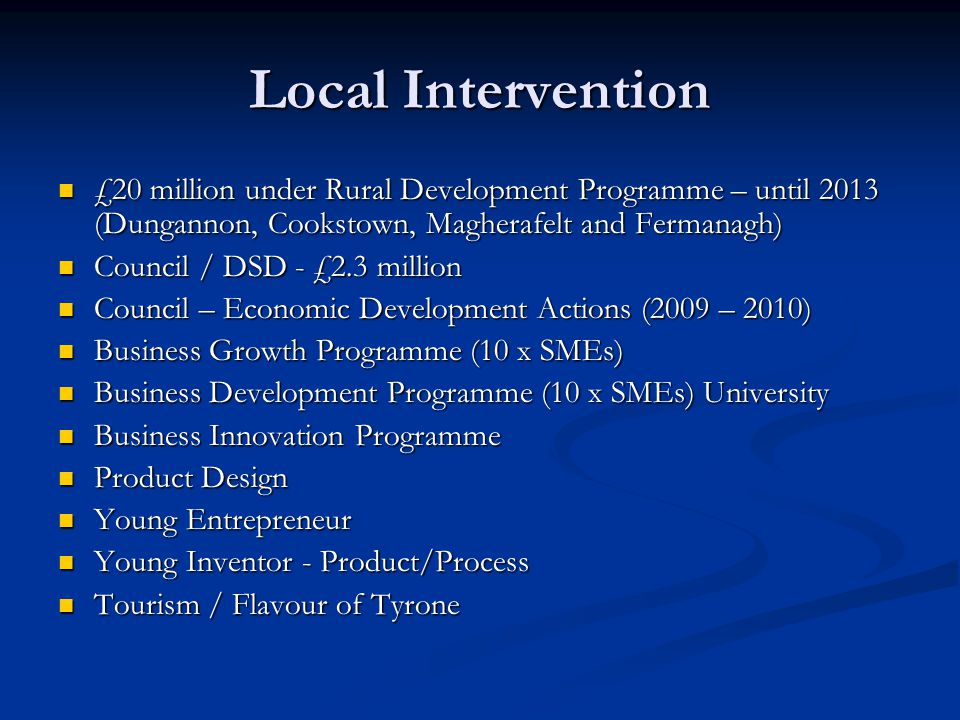 Local Intervention £20 million under Rural Development Programme – until 2013 (Dungannon, Cookstown, Magherafelt and Fermanagh) £20 million under Rural Development Programme – until 2013 (Dungannon, Cookstown, Magherafelt and Fermanagh) Council / DSD - £2.3 million Council / DSD - £2.3 million Council – Economic Development Actions (2009 – 2010) Council – Economic Development Actions (2009 – 2010) Business Growth Programme (10 x SMEs) Business Growth Programme (10 x SMEs) Business Development Programme (10 x SMEs) University Business Development Programme (10 x SMEs) University Business Innovation Programme Business Innovation Programme Product Design Product Design Young Entrepreneur Young Entrepreneur Young Inventor - Product/Process Young Inventor - Product/Process Tourism / Flavour of Tyrone Tourism / Flavour of Tyrone