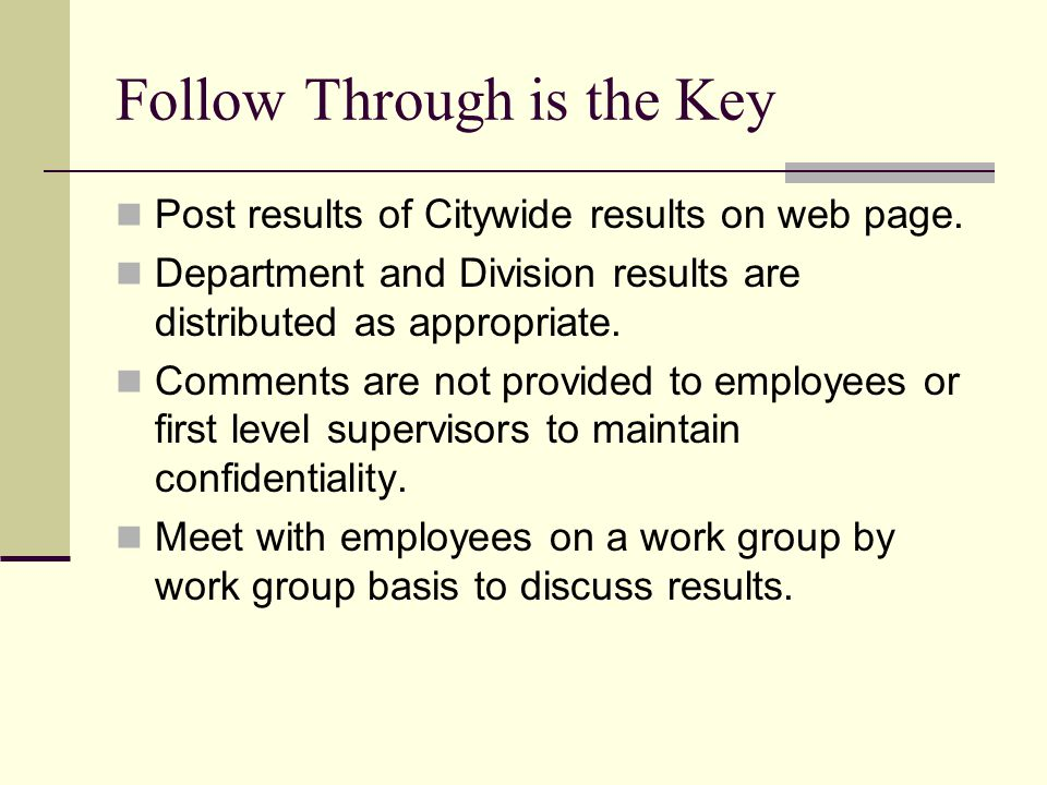 Follow Through is the Key Post results of Citywide results on web page.