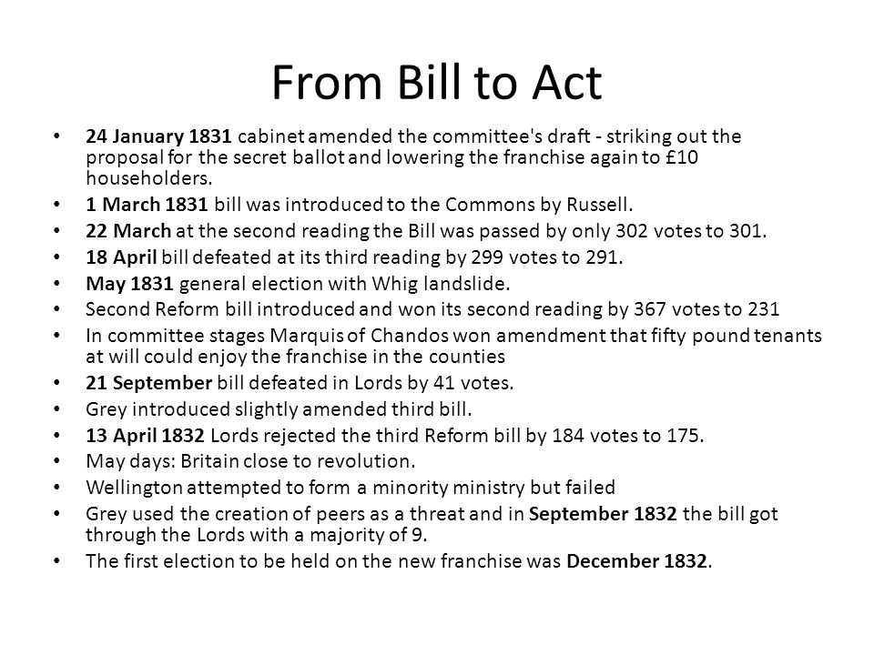 From Bill to Act 24 January 1831 cabinet amended the committee s draft - striking out the proposal for the secret ballot and lowering the franchise again to £10 householders.