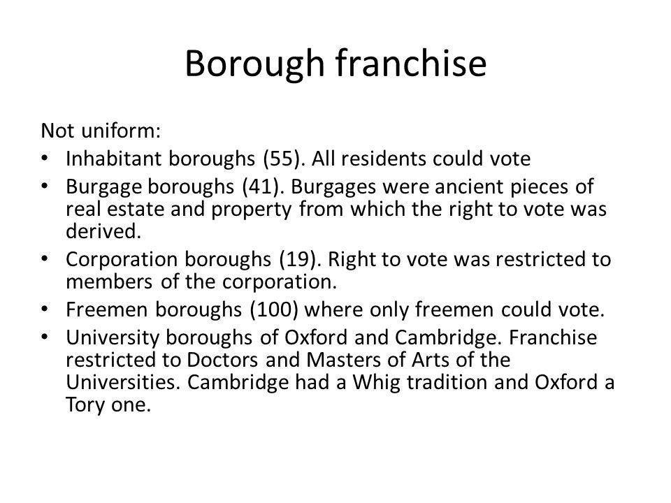 Borough franchise Not uniform: Inhabitant boroughs (55).