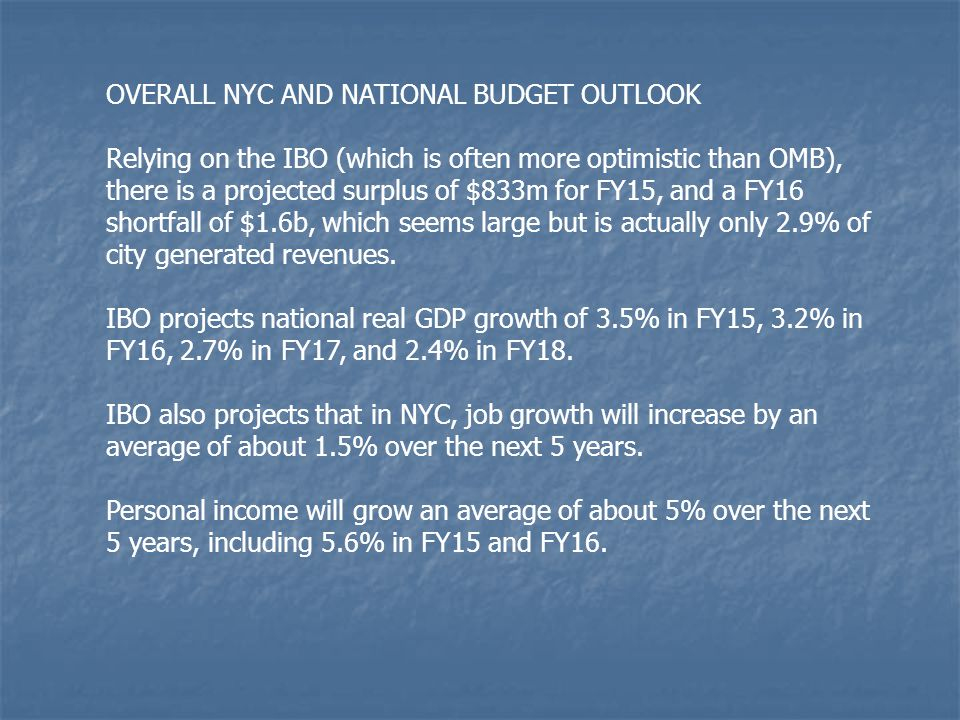 OVERALL NYC AND NATIONAL BUDGET OUTLOOK Relying on the IBO (which is often more optimistic than OMB), there is a projected surplus of $833m for FY15,