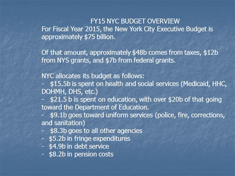 FY15 NYC BUDGET OVERVIEW For Fiscal Year 2015, the New York City Executive Budget is approximately $75 billion. Of that amount, approximately $48b com