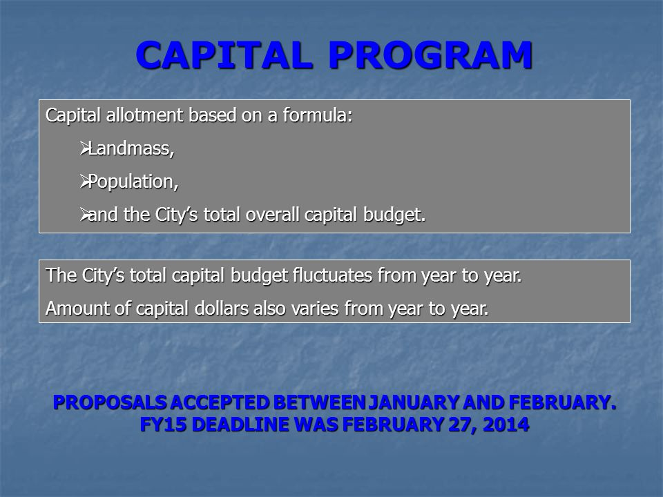 CAPITAL PROGRAM Capital allotment based on a formula:  Landmass,  Population,  and the City's total overall capital budget. The City's total capita