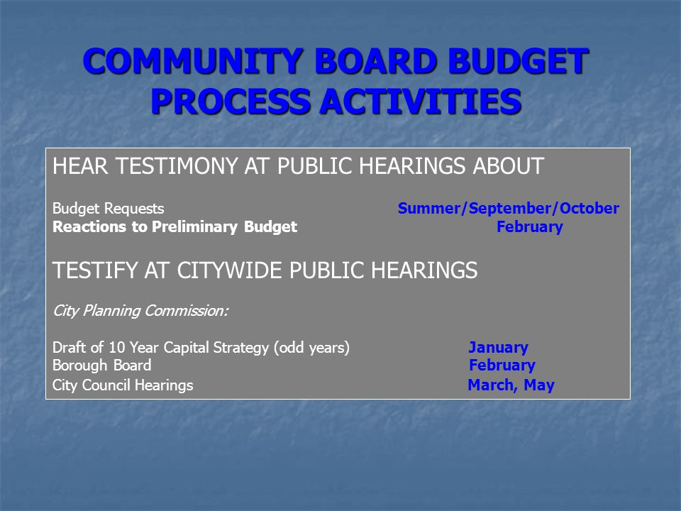 COMMUNITY BOARD BUDGET PROCESS ACTIVITIES HEAR TESTIMONY AT PUBLIC HEARINGS ABOUT Budget Requests Summer/September/October Reactions to Preliminary Bu