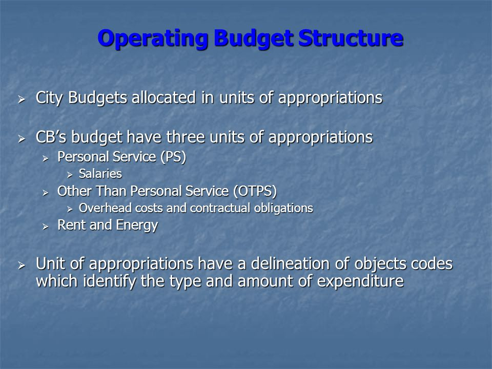 Operating Budget Structure  City Budgets allocated in units of appropriations  CB's budget have three units of appropriations  Personal Service (PS