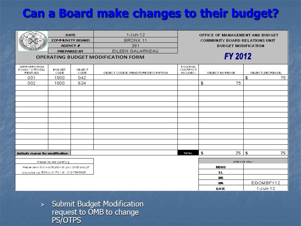 Can a Board make changes to their budget?  Submit Budget Modification request to OMB to change PS/OTPS