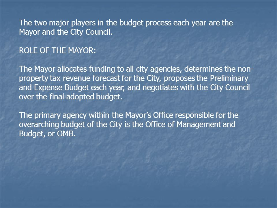 BUDGET TIMELINE 4.Borough Presidents' Agency Hearings – March 5 BP's Question Agency Commissioners on Mayor's Prelim Budget 1.Mayor's Preliminary Budget – January Departmental Estimates, Financial Plan 2.Borough Board Public Hearings – February CB Review of Preliminary Budget, Development of Priorities 3.Borough Priorities Report – Feb/March Mandated by Section 241 of the City Charter 5.BP's Recommended Modifications – March Mandated by Section 245 of Charter