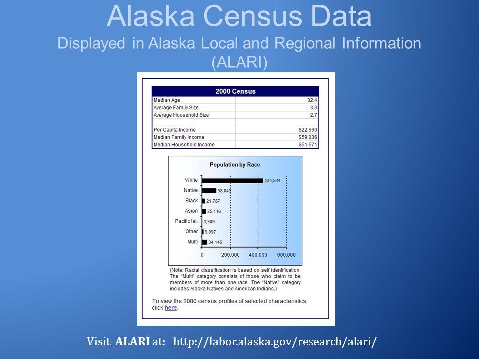 Alaska Census Data Displayed in Alaska Local and Regional Information (ALARI) Visit ALARI at: http://labor.alaska.gov/research/alari/