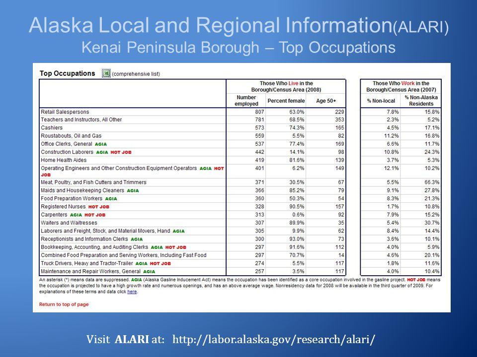 Alaska Local and Regional Information (ALARI) Kenai Peninsula Borough – Top Occupations Visit ALARI at: http://labor.alaska.gov/research/alari/