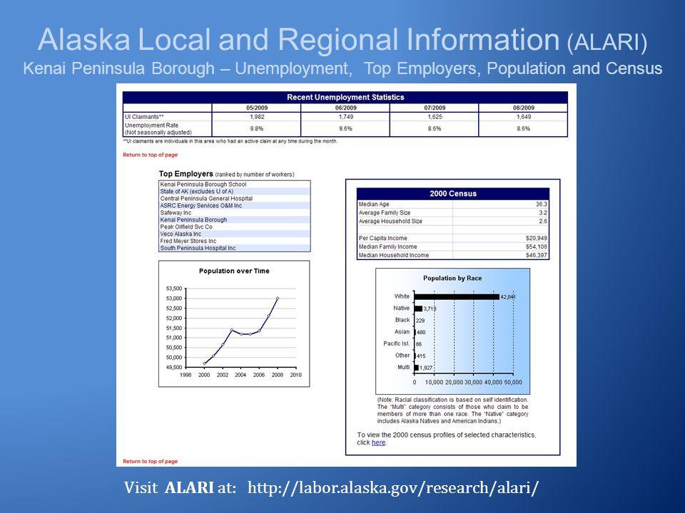 Alaska Local and Regional Information (ALARI) Kenai Peninsula Borough – Unemployment, Top Employers, Population and Census Visit ALARI at: http://labo